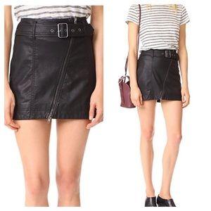 Free People Feelin Fresh Vegan Leather Skirt Sz 4